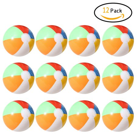 12 PCs Inflatable 6-Color Traditional Beach Balls Pool Party Toys Birthday Favors - Pool Party Items