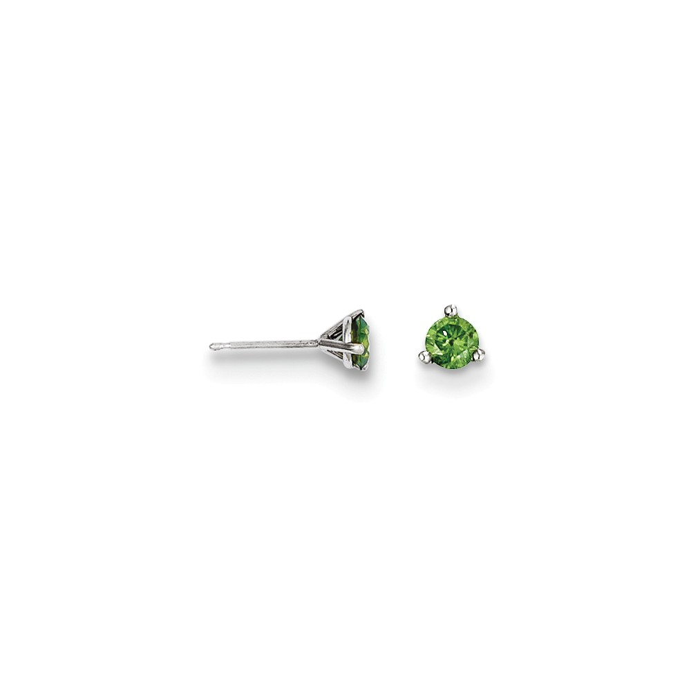 14k White Gold .33ct. Green Diamond Stud Earrings. Carat Wt- 0.33ct (4MM)