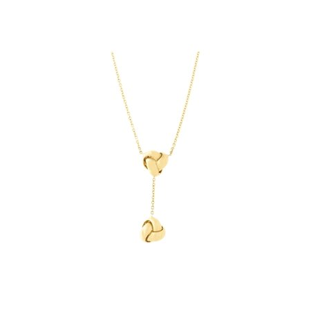 14k Gold Diamond Love Knot - 14k Yellow Gold Diamond Cut Cable Chain Double Love Knot Drop Lariat Necklace, 16.5