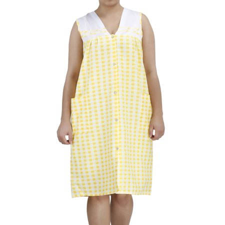 Women's Sleeveless Snap-Front Cotton House Dress by EZI
