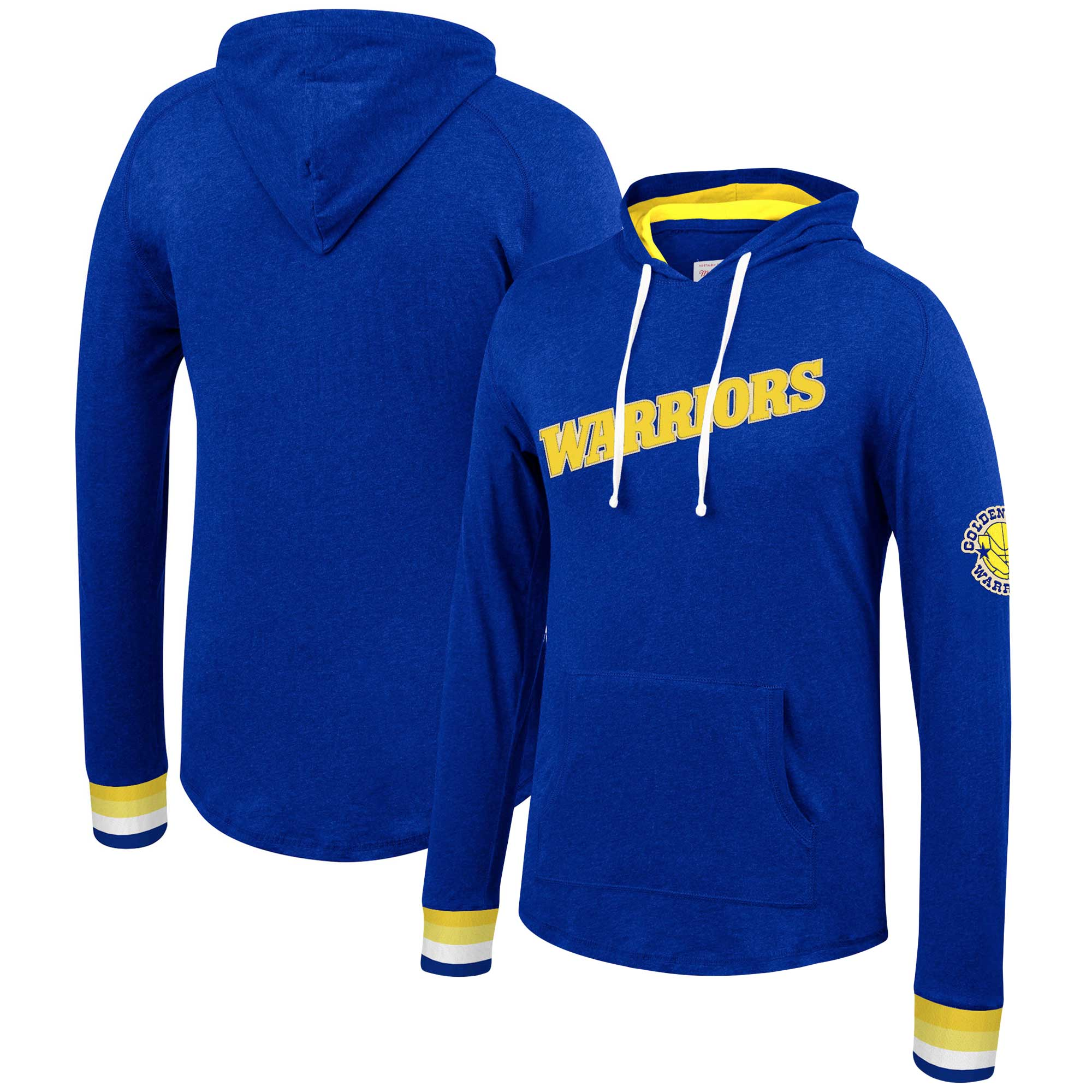 Golden State Warriors Mitchell & Ness Striped Cuff Pullover Hoodie - Royal