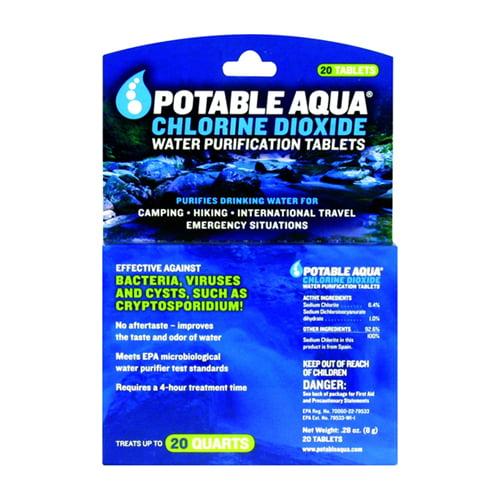 Potable Aqua Chlorine Dioxide Water Purification Tablets  - 20 Ea