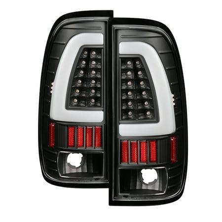 1999 2000 2001 2002 2003 2004 2005 2006 2007 Ford Super Duty F250 F350 F450 LED Fiber Optic LED Bar Black Clear Tail Lights PAIR