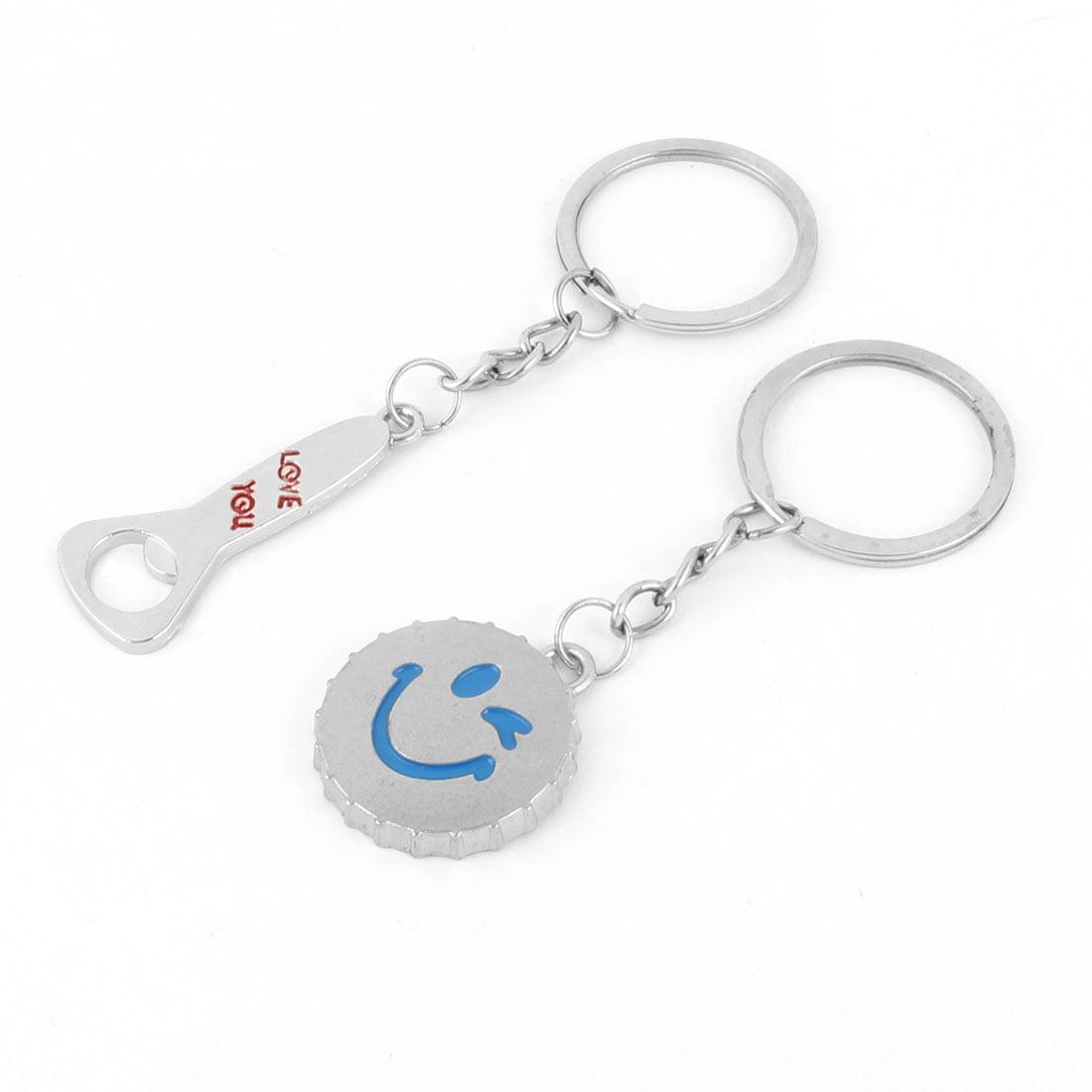 Metal Beer Cap Bottle Opener Shaped Pendant Couple Keychain Key Ring Holder Pair - image 3 of 3