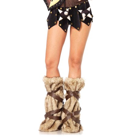 leg avenue women's warrior faux fur leg warmers with faux leather wrap detail costume accessory, tan, one