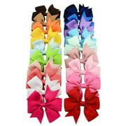 (3.15in/20Pcs/Random Color)Hair Bow Alligator Clip,Coxeer Grosgrain Ribbon Hair Accessories for Baby Girls Kids Teens Toddlers Children