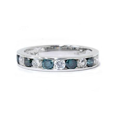 1 carat Channel Set Treated Blue & White Diamond Ring 14K White Gold