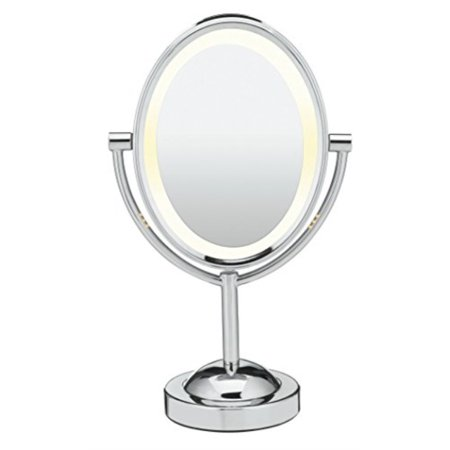 Conair Chrome Mirror - Conair Double-Sided Lighted Makeup Mirror - Lighted Vanity Mirror; 1x/7x magnification; Polished Chrome Finish