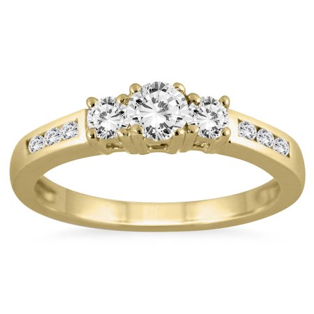 1 2 Carat Tw Diamond Three Stone Ring In 10K Yellow Gold  K L Color  I2 I3 Clarity