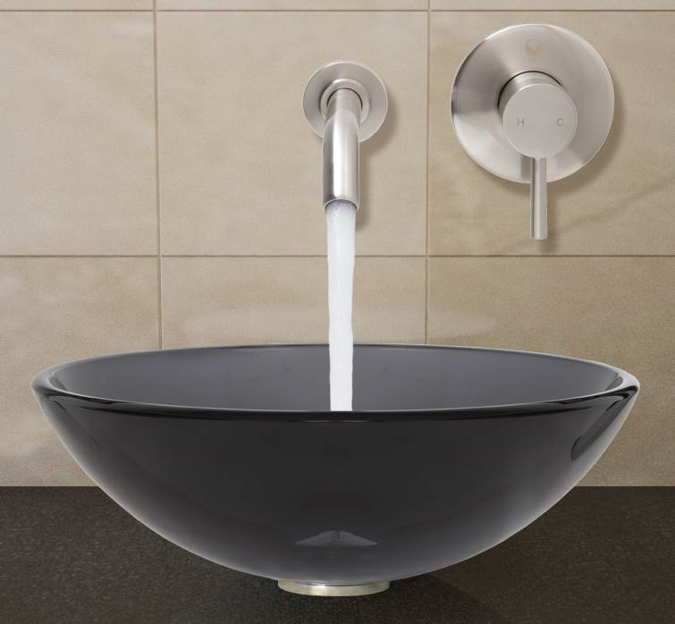Merveilleux Round Vessel Sink And Wall Mount Faucet Set