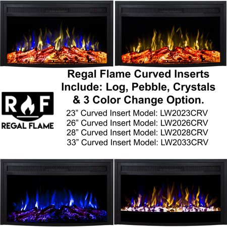 Regal Flame LW2033CRV 33 in. Curved Ventless Heater Electric Fireplace Insert ()