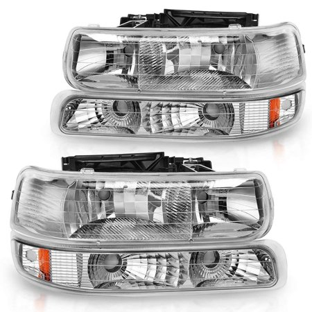 For 99-02 Chevrolet Silverado 1500 2500/01-02 Chevy Silverado 1500HD 2500HD 3500HD / 00-06 Chevy Tahoe Suburban 1500 2500 Headlight Assembly Chrome Housing Headlamp with Bumper (Chevrolet Suburban 2500 Parking Light)