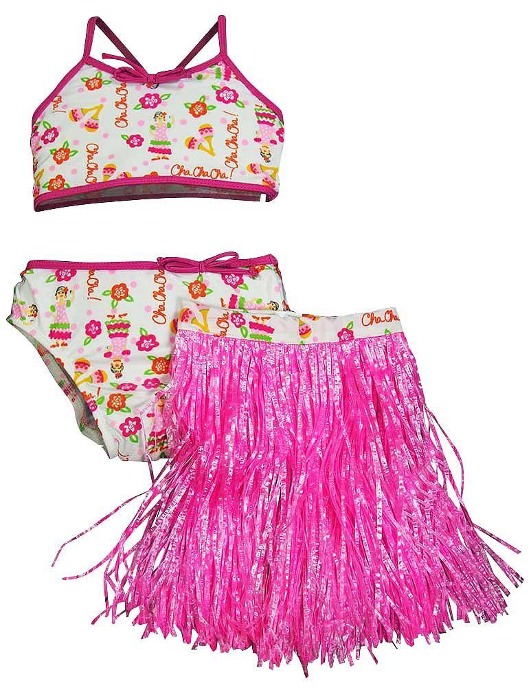 Swim n Pretty by Baby Buns Little Girls 3 Piece Bikini Swimwear Set