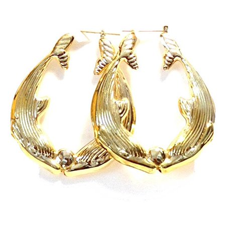 Dolphin Hoop Earrings Dolphins Kissing Hoops 2 Inch Earrings Gold Tone Hoop Earrings