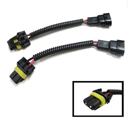 iJDMTOY (2) 9005 HB3 9145 H10 Extension Wiring Harness w/ Adapters on