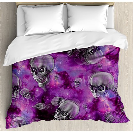 Skull Duvet Cover Set, Horror Movie Thirller Themed Flying Skull Heads Halloween in Outer Space Image, Decorative Bedding Set with Pillow Shams, Black and Purple, by Ambesonne