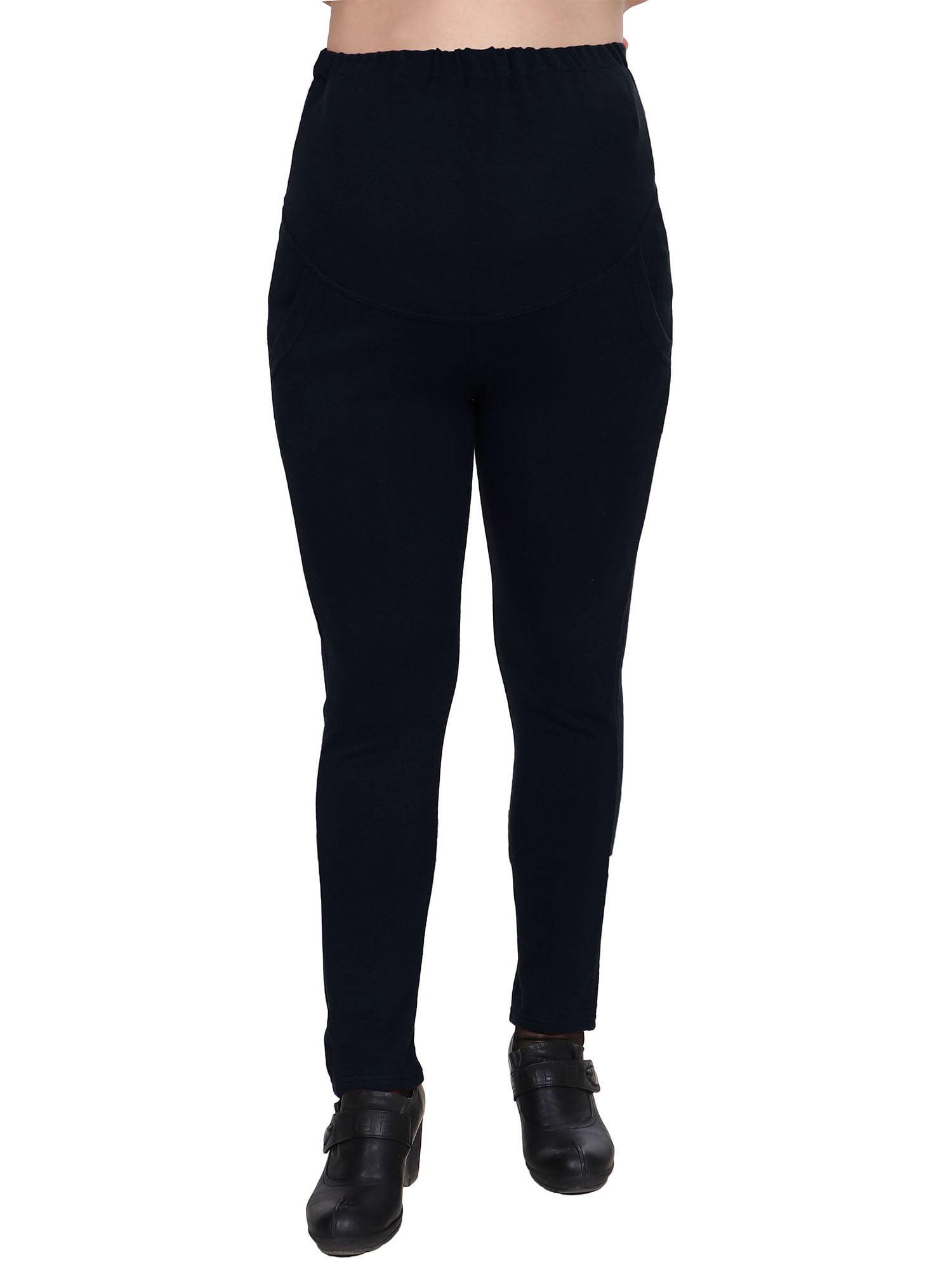 Women Cotton Blend Pants Full Length Maternity Leggings,Black