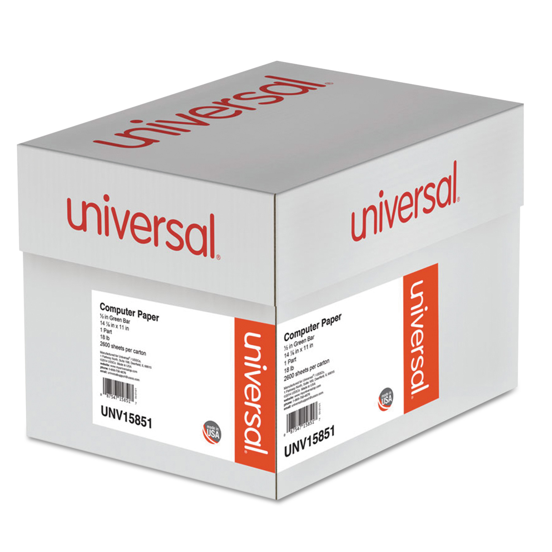 Universal Green Bar Computer Paper, 18lb, 14-7/8 x 11, Perforated Margins, 2600 Sheets