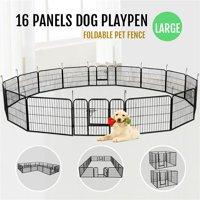 Easyfashion 16 Panel Exercise Metal Dog Playpen, Black