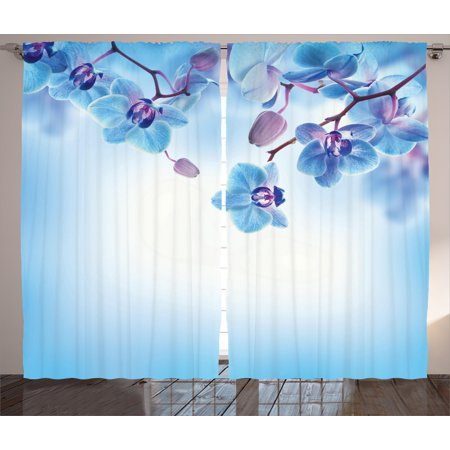 Flower Decor Curtains 2 Panels Set, Orchids Asian Natural Flowers Reflections on Water for Spring Calming Art, Window Drapes for Living Room Bedroom, 108W X 84L Inches, Blue and Purple, by Ambesonne](Asian Curtains)