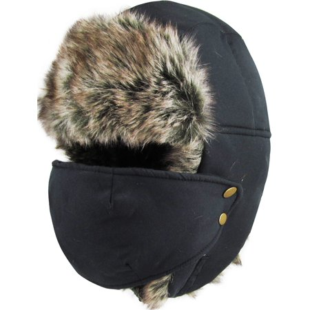 Black Solid Face Mask Aviator Trapper Hat Winter Ski Cap Faux - Detective Hats For Kids
