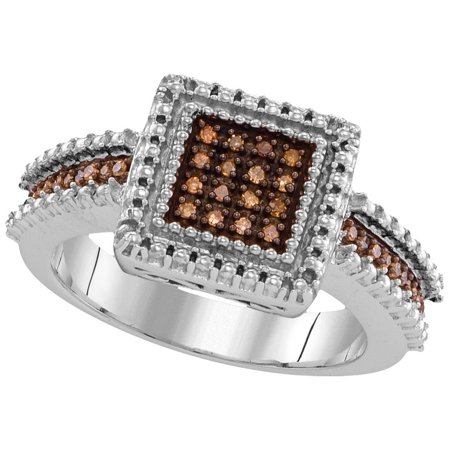 Size - 7 - Solid 925 Sterling Silver Round Chocolate Brown Diamond Engagement Ring OR Fashion Band Prong Set Square Shape Solitaire Shaped Halo Ring (.15