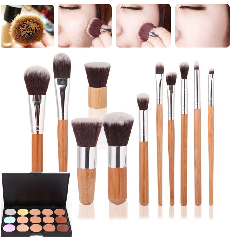 15 Colors Face Concealer  Cream Contour Palette + 11 Bamboo Makeup Brushes Set