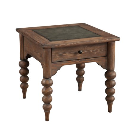 Emerald Home Bern Mist End Table with Storage Drawer, Metal Embossed Top, And Turned (Stores In Emerald Square Mall)