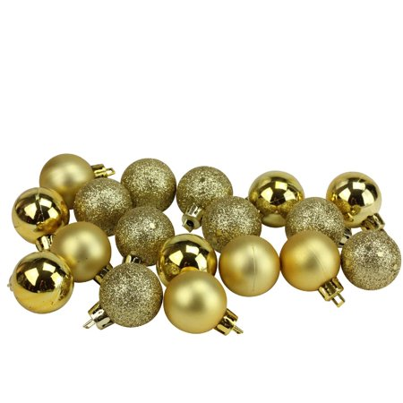 18ct Vegas Gold Shatterproof 4-Finish Christmas Ball Ornaments 1.25