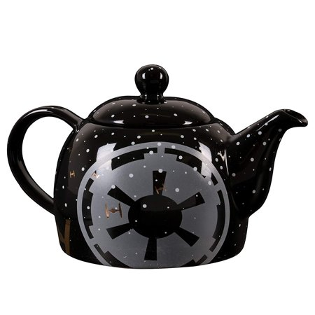 24 Oz Glass Teapot (Star Wars Ceramic Teapot - Black with Pinache Empire Symbol and Tie Fighter Design - 24 oz )