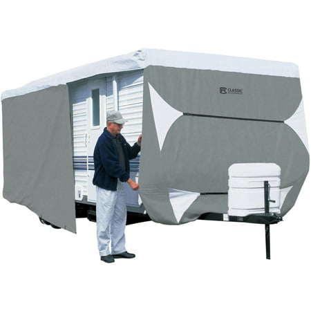 Classic Accessories PolyPRO 3 Deluxe Travel Trailer RV Cover or Toy Hauler RV Cover, Grey / Snow