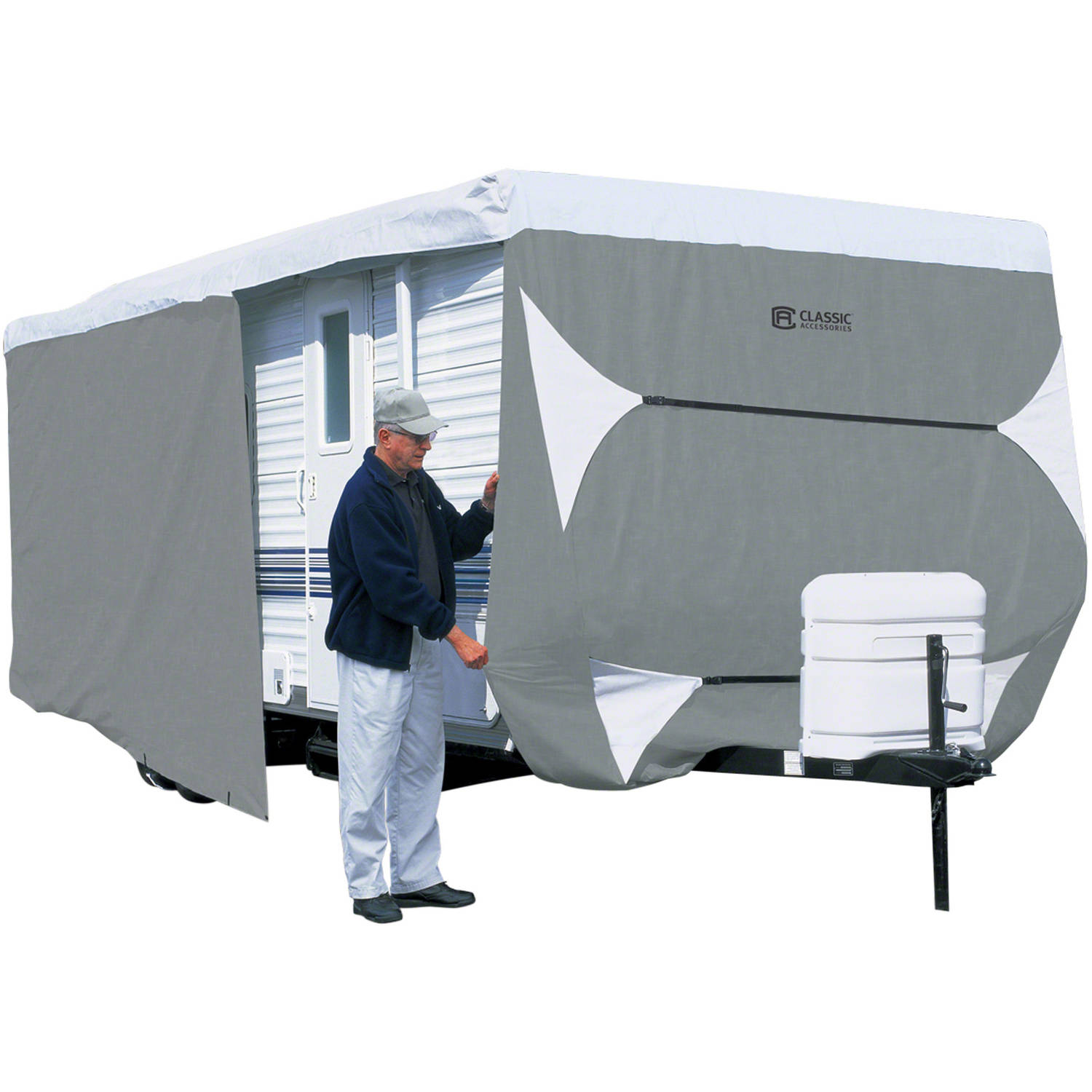 Classic Accessories PolyPRO 3 Deluxe Travel Trailer RV Cover or Toy Hauler RV Cover, Grey / Snow White