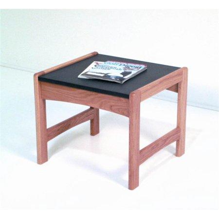 Dark Wood Top (Dakota Wave Solid Wood End Table w Durable Black Melamine Top (Dark Red)