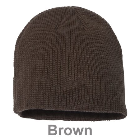Slouchy Unisex Waffle Knit Winter Ski Thick & Warm Beanie Hat - Brown