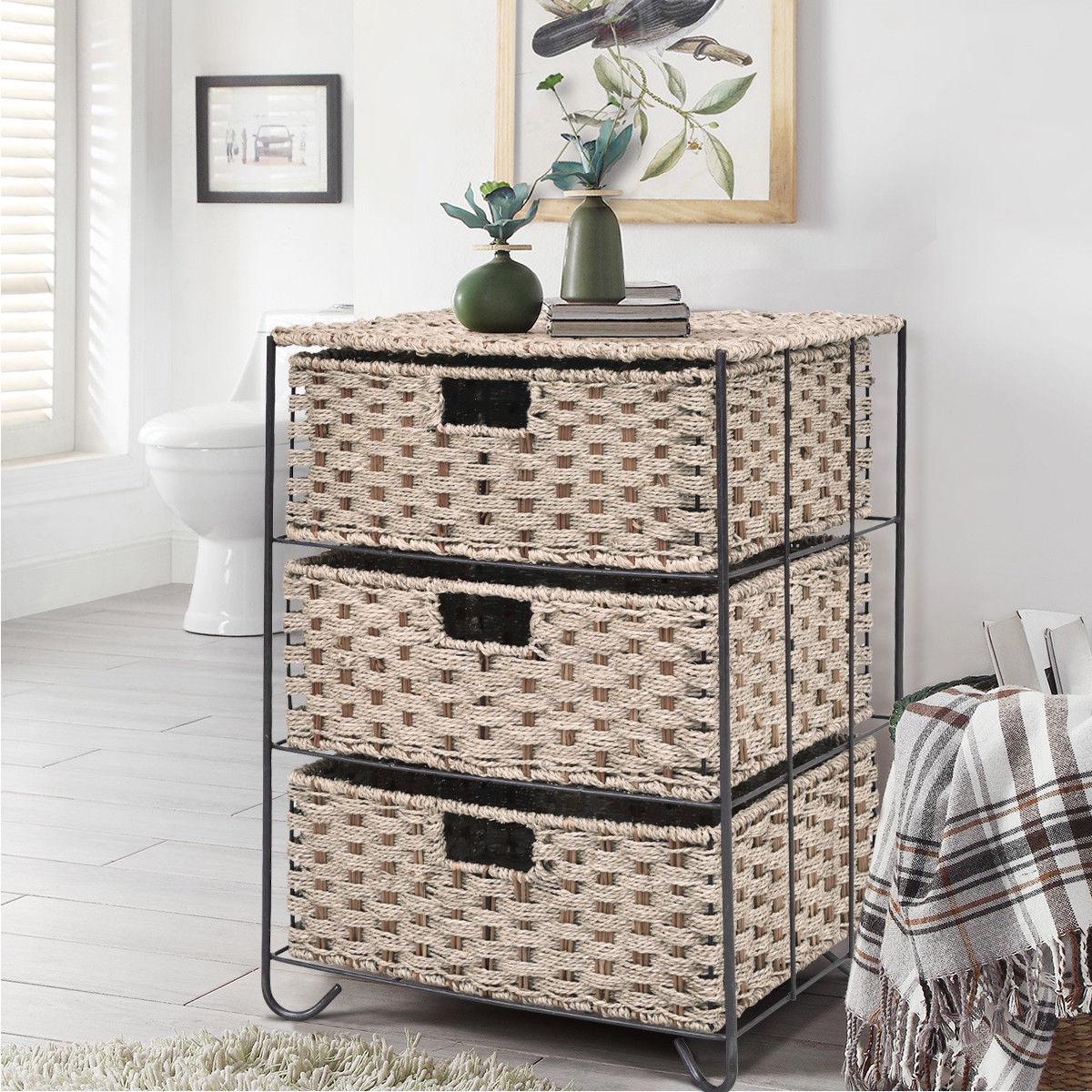 Gymax Storage Unit 3-Drawer Baskets Bin Chest Rack Organizer Shelf Sea Grass