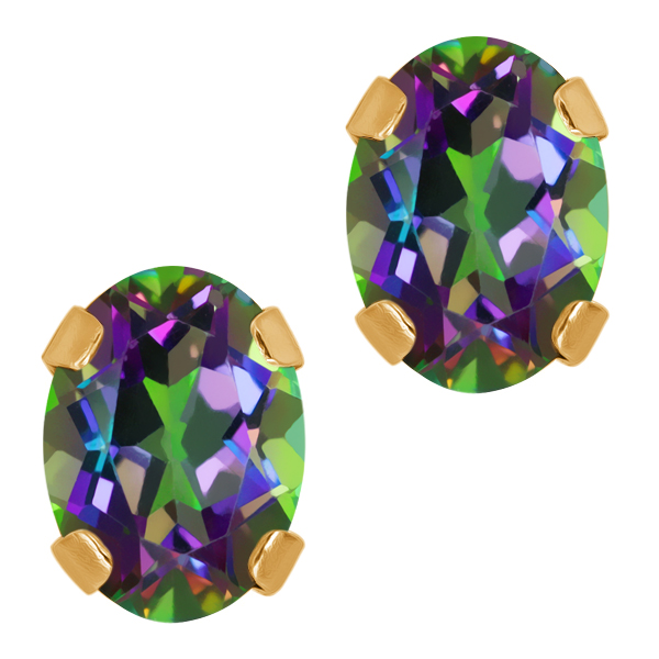 1.90 Ct Oval Green Mystic Topaz 14K Yellow Gold 4-prong Stud Earrings 7x5mm