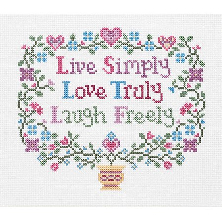 14 Count Cross Stitch Fabric - Janlynn Live, Love, Laugh Counted Cross Stitch Kit, 8