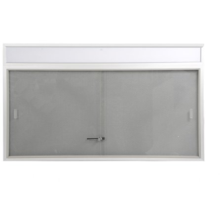 60 x 36 Bulletin Board with Separate Header Area Includes Sliding Glass Doors, 5' x 3' Enclosed Message Board with Gray Fabric Backing for Indoor Use, Aluminum (FBSD63HDSG) - Indoor Enclosed Aluminum Message Board