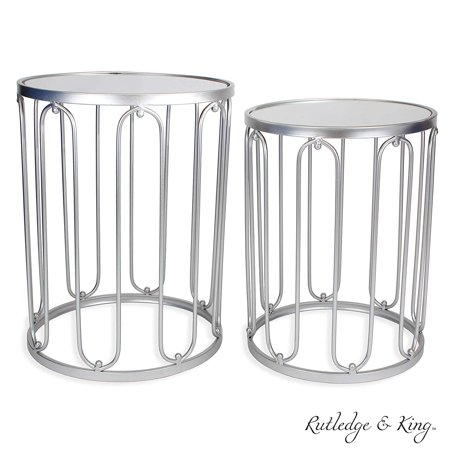 Round End Table Set - Silver End Tables with Mirrored Tops - Nesting Round Accent Tables - Silver and Mirrored Metal Side Tables - Rutledge & King Braswell End Table Set ()