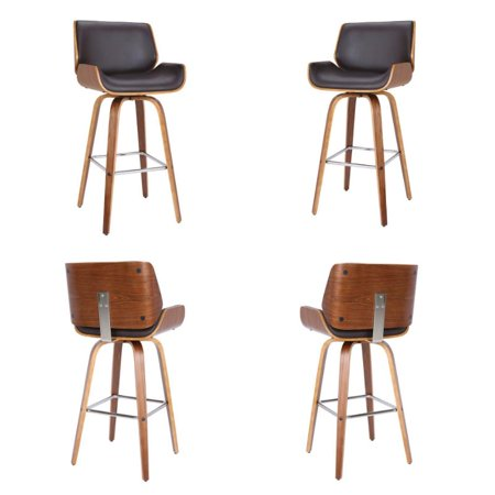 """Tyler 26"""" Swivel Barstool in Brown Faux Leather (Set of 4)"""
