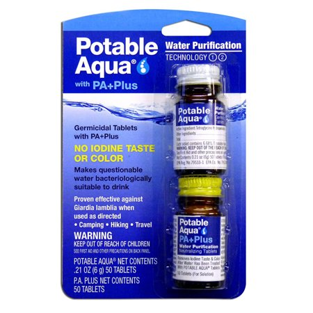 Potable Aqua Water Purification Tablets With Pa Plus - 1 Kit Potable Aqua Water