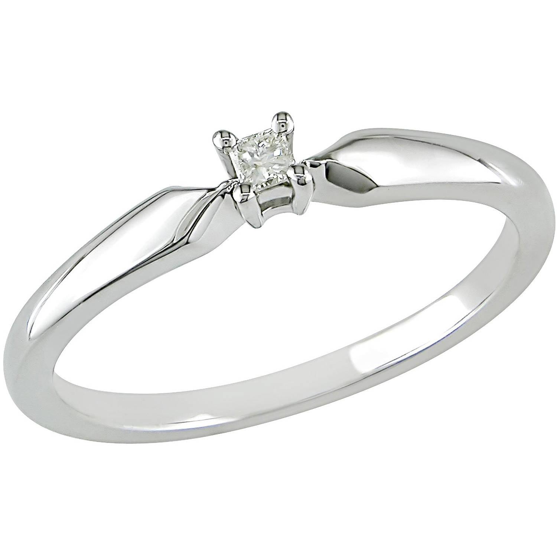 Miabella Princess Cut Diamond Accent Sterling Silver Solitaire