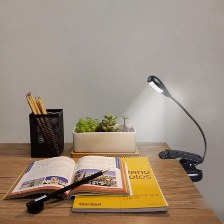 EEEkit Flexible Clip On Light,Reading light, 2 LED Flexible Gooseneck, 2 Brightness Levels, Rechargeable Portable Desk Lamp, Mini Book Light for Bed Headboard, Desk, Office, Study Room