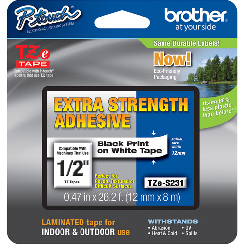 "Brother TZES231 0.5"" Black On White Extra Strength Lettering Tape"