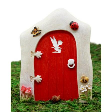 Ebros Gift Enchanted Fairy Garden Miniature Tinker Bell Magical Pixie Red Door Figurine 4.75