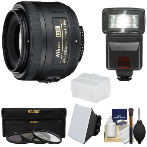 Nikon 35mm f/1.8 G DX AF-S Nikkor Lens with 3 Filters + Flash & 2 Diffusers Kit for D3200, D3300, D5300, D5500, D7100, D7200 Cameras