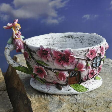 Miniature Cherry Blossom Tea Cup Planter for Miniature Garden, Fairy Garden (Fairy Blossom)