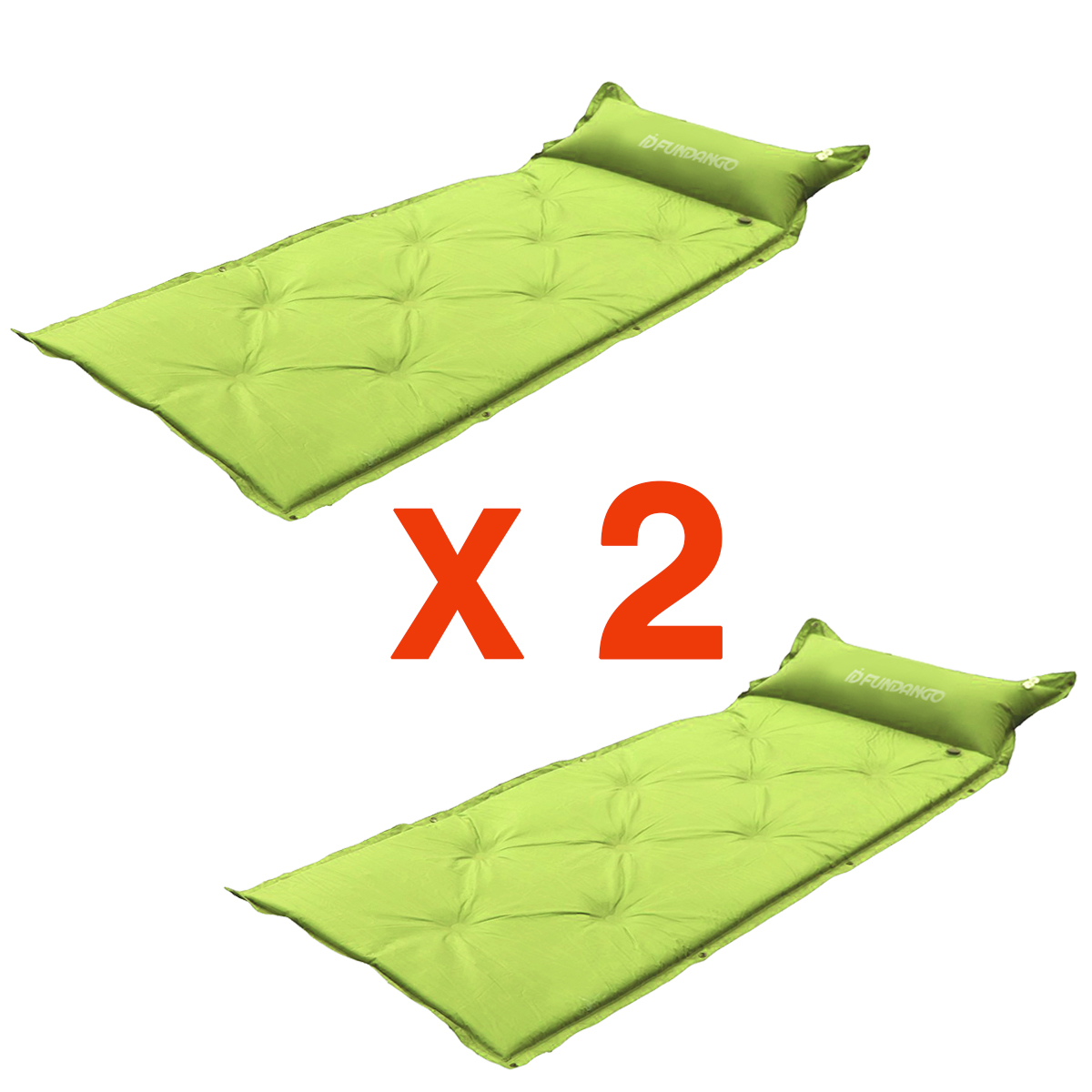 LOT 2X New Self Inflating Mattress Air Mat for Sleeping Bag Pad Camping Green