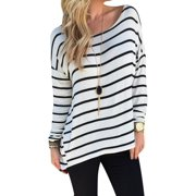 Nlife Women Long Sleeve Black White Stripe Tunic Top