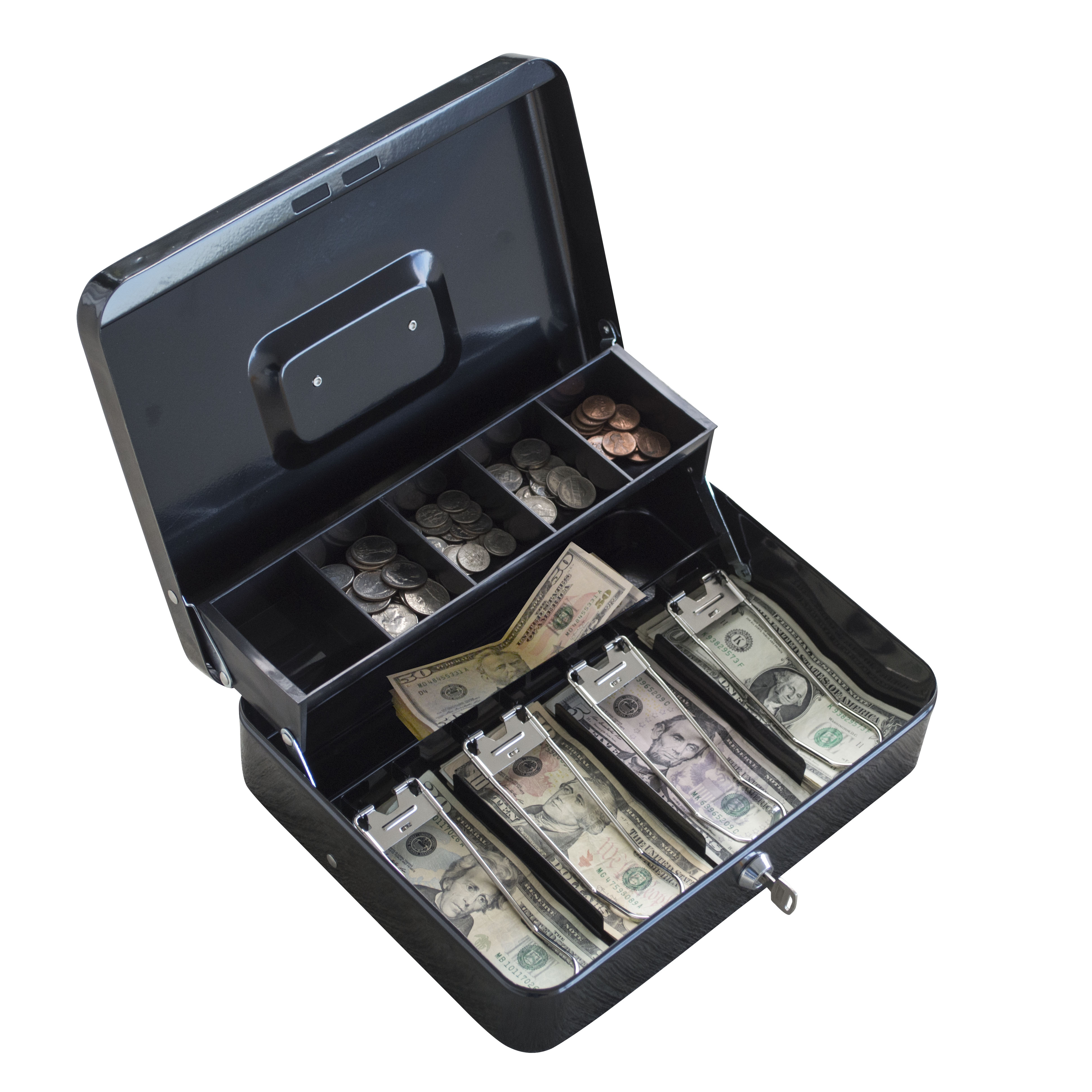 AmeriHome Locking Two-Tiered Cash Box with Steel Construction by Buffalo Corp